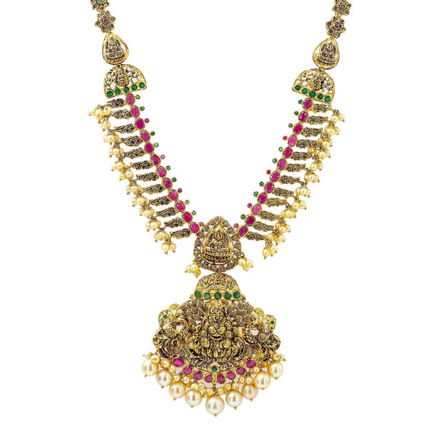 An image of a temple-style Indian necklace with a design inspired by royalty from Virani Jewelers | Looking for elaborate temple jewelry to pair with your formal or dress attire? This 22K yellow an...