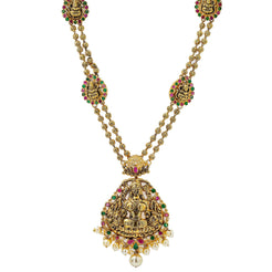 An image of a 22K antique gold necklace with a temple design and multiple pendants from Virani Jewelers