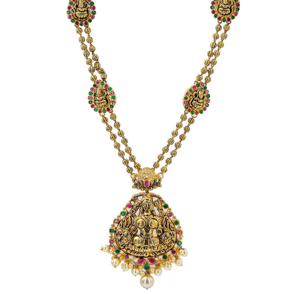 An image of a 22K antique gold necklace with a temple design and multiple pendants from Virani Jewelers | This 22K yellow antique gold necklace from Virani Jewelers can add radiant luxury to any formal o...
