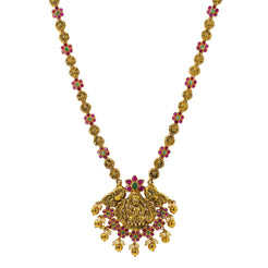 An image of a beautiful Indian necklace with gemstone accents from Virani Jewelers