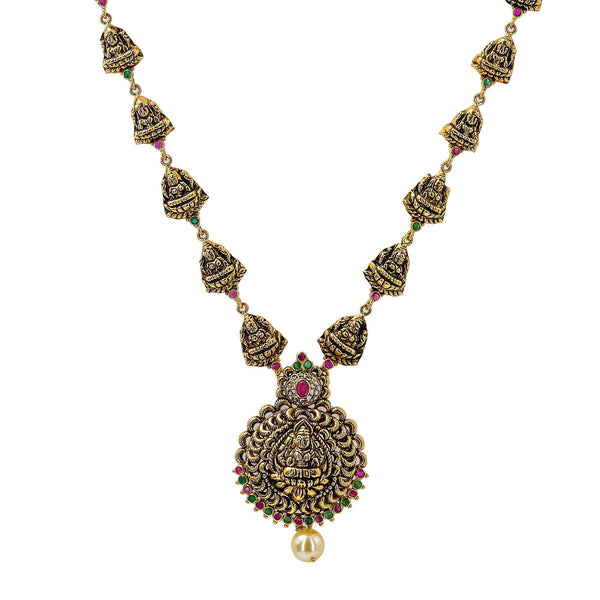 22K Yellow Antique Gold Laxmi Necklace W/ Rubies, Emeralds, Pearl & Adjustable Drawstring Closure | Add a unique piece of Temple jewelry to your attire as the crowning stroke to your look like this...
