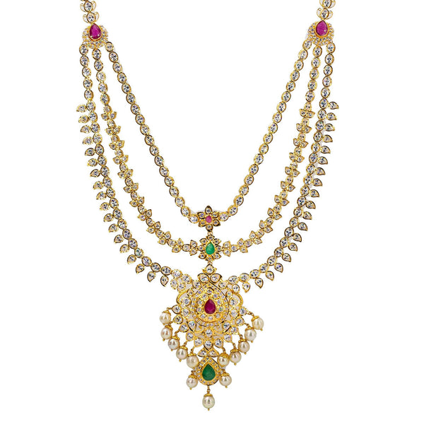 An image of a beautiful 22K yellow gold necklace with pearl and gemstone accents from Virani Jewelers | Looking for an exquisite 22K yellow gold jewelry set to add to your collection? This set from Vir...