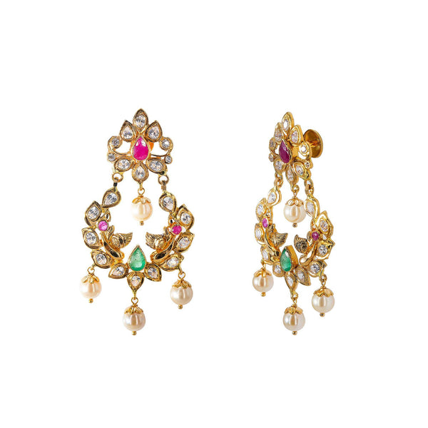An image of the side of a pair of 22K yellow gold earrings with pearl, ruby, and emerald accents from Virani Jewelers | Looking for an exquisite 22K yellow gold jewelry set to add to your collection? This set from Vir...