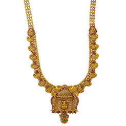 An iamge of a beautiful 22K yellow gold Indian necklace from Virani Jewelers with emerald and rubie accents
