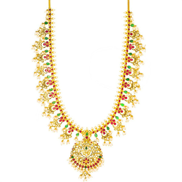 22K Yellow Gold Antique Guttapusalu Necklace and Earrings Set W/ Emeralds, Pearls, CZ, Rubies & Round Pendant | 22K Yellow Gold Antique Guttapusalu Necklace and Earrings Set W/ Emeralds, Pearls, CZ, Rubies &am...