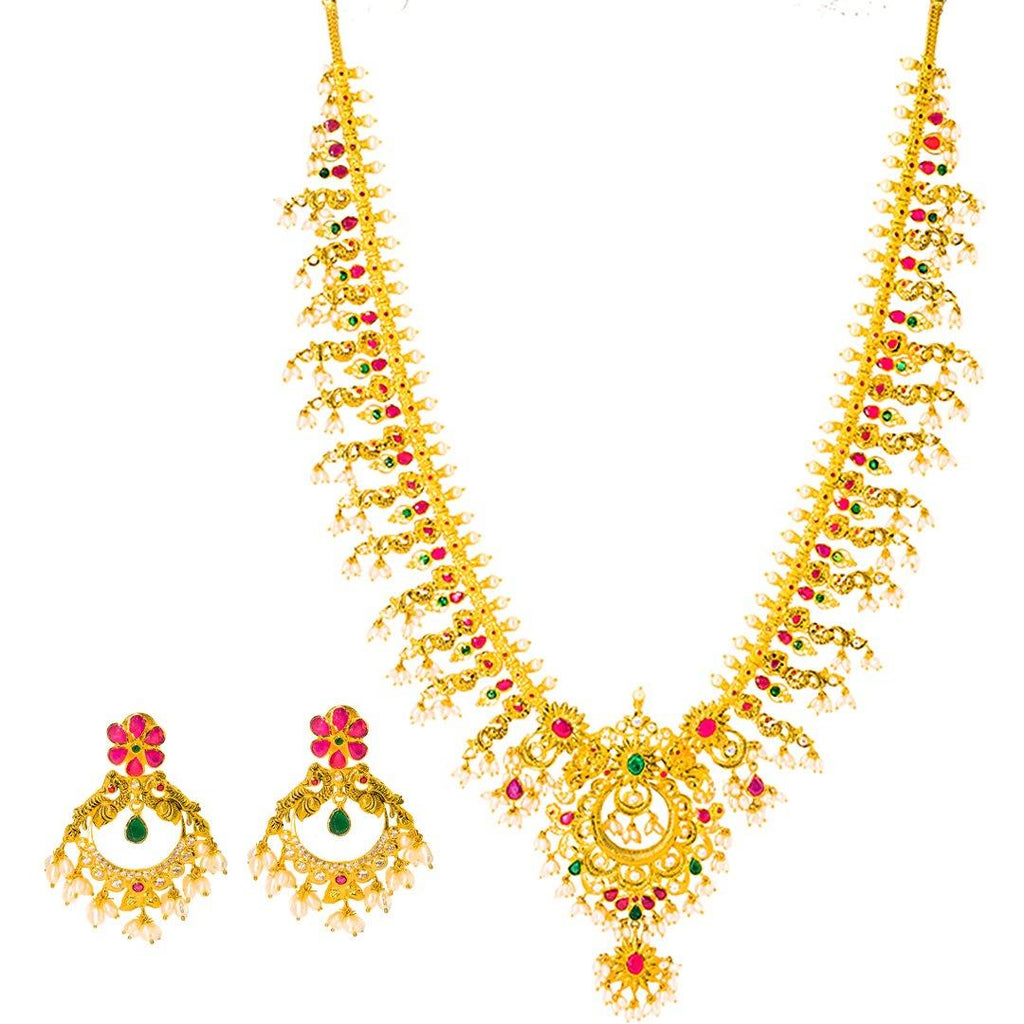 22K Yellow Gold Guttapusalu Necklace and Earrings Set W/ Emeralds, Pearls, CZ, Rubies & Peacock Accents | 22K Yellow Gold Guttapusalu Necklace and Earrings Set W/ Emeralds, Pearls, CZ, Rubies & Peaco...