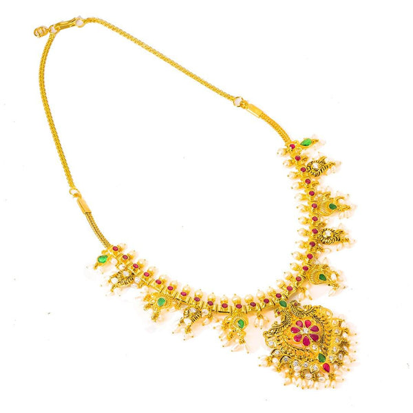 22K Yellow Gold Antique Guttapusalu Necklace and Earrings Set W/ Emeralds, Pearls, CZ, Rubies & Peacock Accents - Virani Jewelers | 22K Yellow Gold Antique Guttapusalu Necklace and Earrings Set W/ Emeralds, Pearls, CZ, Rubies &am...