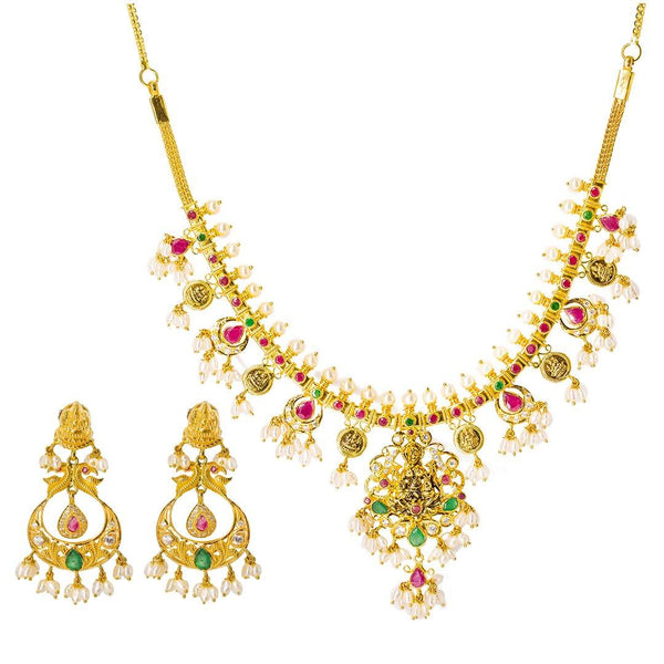 22K Yellow Gold Temple Guttapusalu Necklace Set W/ Emeralds, Rubies, CZ Gems, Pearls & Laxmi Pendant | 22K Yellow Gold Temple Guttapusalu Necklace Set W/ Emeralds, Rubies, CZ Gems, Pearls & Laxmi ...