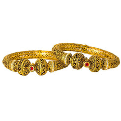 22K Yellow Gold Antique Bangles Set of 2 W/ Kundan, Rubies & Deep Paisley Details