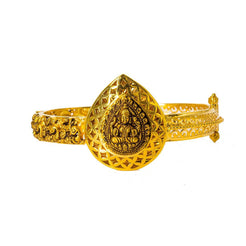 22K Yellow Gold Bangle W/ Antique Finish & Large Laxmi Pendant