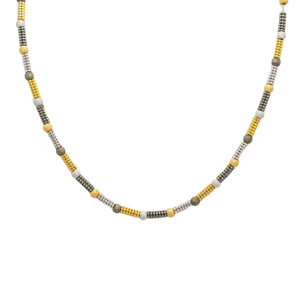 22K Multi Tone Gold Chain W/ Rounded Bead Chain & Glass Blast Bead Accents |  22K Multi Tone Gold Chain W/ Rounded Bead Chain & Glass Blast Bead Accents for women. This u...