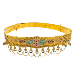 22K Yellow Gold Vaddanam Waist Belt W/ Ruby, Emerald, Sapphire, CZ Gems & Paisley Peacock Chandelier Design
