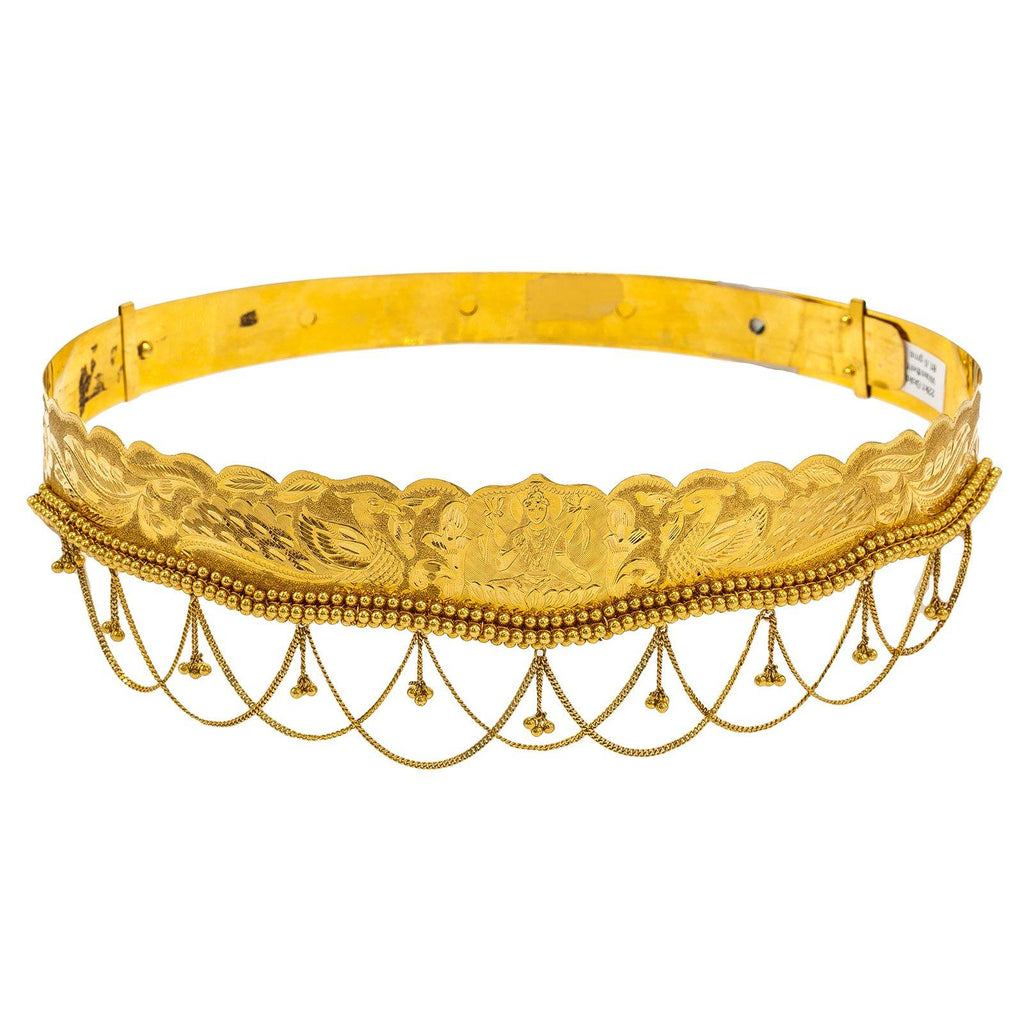 22K Yellow Gold Vaddanam Waist Belt W/ Laser Etched Portrait & Chandelier Accents | Add stunning 22K gold to your child's outfit with this beautiful 22K waist belt from Virani Jewel...