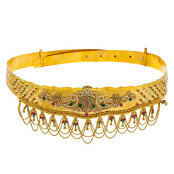 22K Yellow Gold Vaddanam Waist Belt W/ Ruby, Emerald, CZ Gems & Lotus Flower Chandelier Design