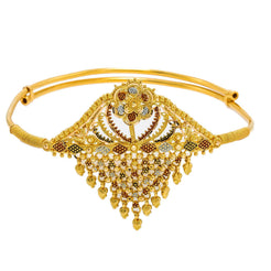 22K Multi Tone Gold Arm Vanki W/ Meenakari Details & Cascading Beaded Filigree