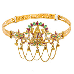 22K Yellow Gold Arm Vanki W/ Ruby, Emerald, CZ Gems & Chandelier Laxmi Design
