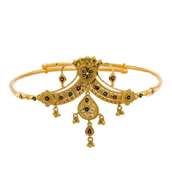 22K Yellow Gold Arm Vanki W/ Meenakari Details & Drop Pendant Crown Design