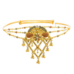 22K Yellow Gold Arm Vanki W/ Meenakari Details, Beaded Filigree & Semi Split Band