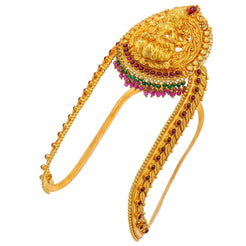 22K Yellow Gold Arm Vanki W/ Rubies, Emeralds & Laxmi Pendant on U-Shaped Band