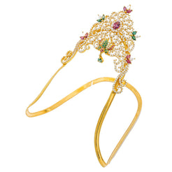 22K Yellow Gold Arm Vanki W/ Ruby, Emerald, CZ Gems & Paisley Flower Design