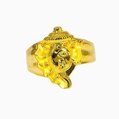 22K Yellow Gold Ganesh Ring For Men W/ Asymmetrical Design