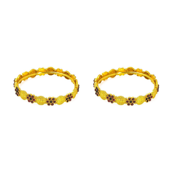 22K Yellow Gold 2 Piece Bangle Set W/ Laxmi Coins & Ruby Studded Flower Accents |  22K Yellow Gold 2 Piece Bangle Set W/ Laxmi Coins & Ruby Studded Flower Accents for women. T...