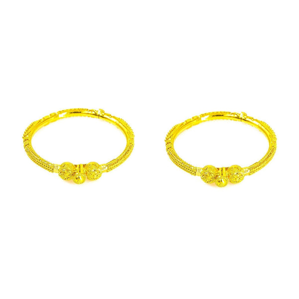 22K Yellow Gold 2 Piece Bangle W/ Multi Bauble Designs for Kids | 22K Yellow Gold 2 Piece Bangle W/ Multi Bauble Designs for Kids. This stunning set is ladened wit...