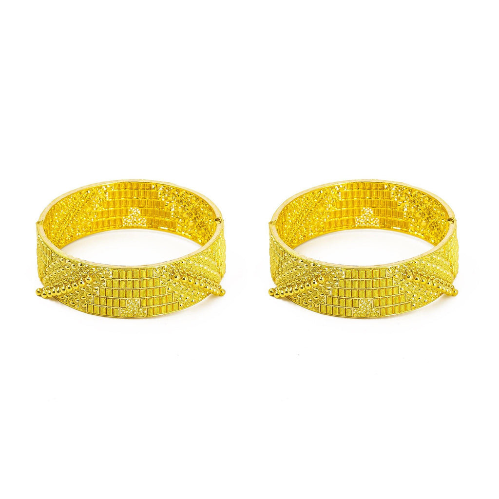 22K Yellow Gold 2 Piece Bangles W/ Screw | Bangle Diameter 2.6 inches. Bangle width 19 mm.