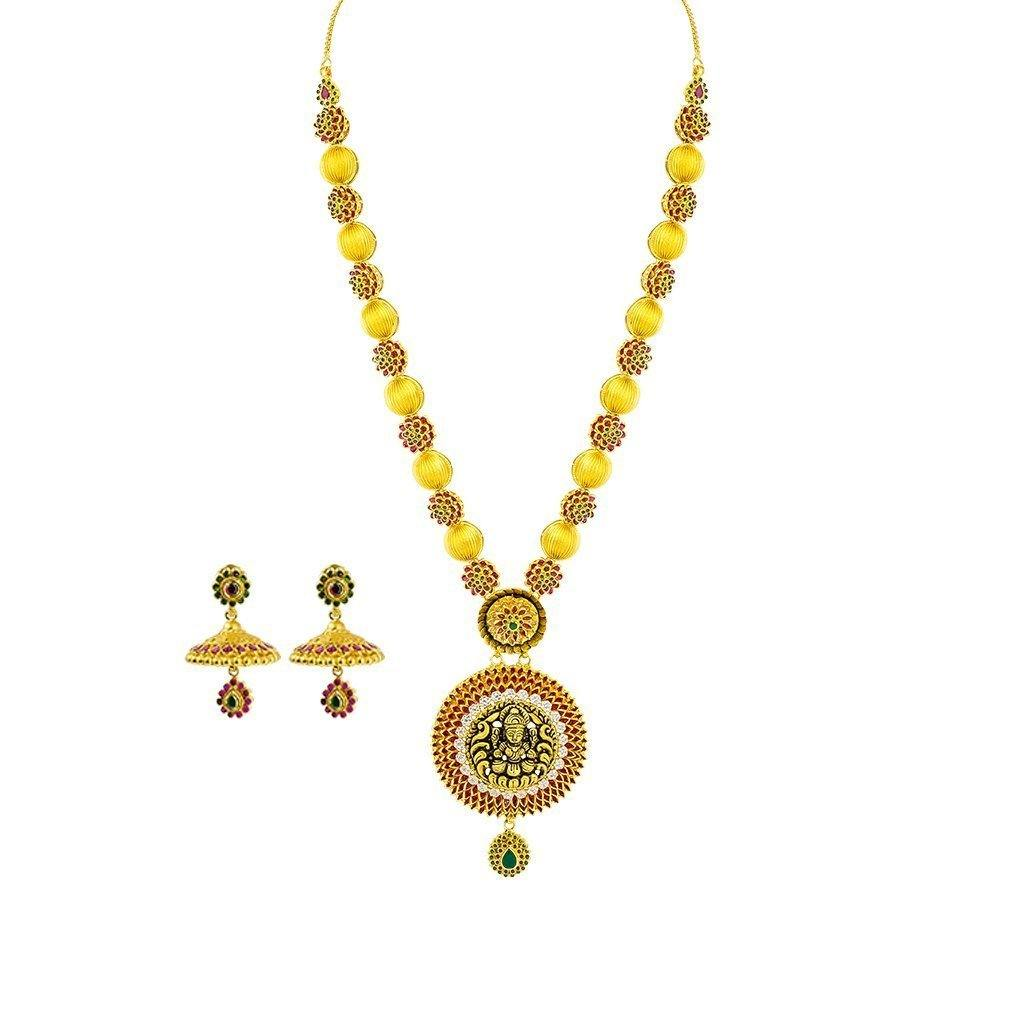 22K Yellow Gold Necklace & Jhumki Earrings Set W/ CZ, Ruby, Emerald, Ornate Laxmi Pendant & Floral Accent Chain |  22K Yellow Gold Necklace & Jhumki Earrings Set W/ CZ, Ruby, Emerald, Ornate Laxmi Pendant &a...
