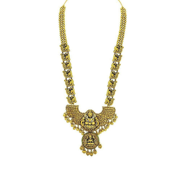 22K Yellow Gold Antique Temple Necklace W/ Ruby & Emerald on Large Winged Double Laxmi Pendant |  22K Yellow Gold Antique Temple Necklace W/ Ruby & Emerald on Large Winged Double Laxmi Penda...