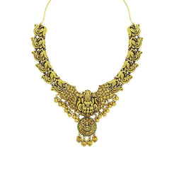 22K Yellow Gold Antique Temple Necklace W/ Ruby, Emerald & Laxmi Pendant on Carved Peacock Strand