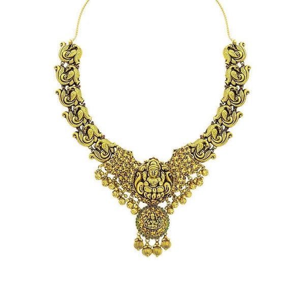 22K Yellow Gold Antique Temple Necklace W/ Ruby, Emerald & Laxmi Pendant on Carved Peacock Strand |  22K Yellow Gold Antique Temple Necklace W/ Ruby, Emerald & Laxmi Pendant on Carved Peacock S...