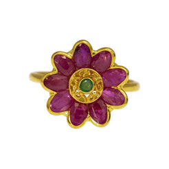 22K Yellow Gold Flower Ring W/ Rubies & Emeralds, 4 Grams