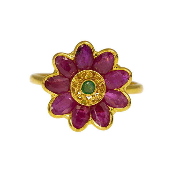 22K Yellow Gold Flower Ring W/ Rubies & Emeralds, 4 Grams | Enjoy the floral elegance of this 22K yellow gold gemstone ring from Virani Jewelers!   Features:...