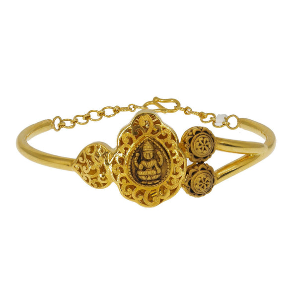 22K Gold Bangle | Add an antique allure to your chosen attire in this 22K yellow antique gold Laxmi bangle from Vir...