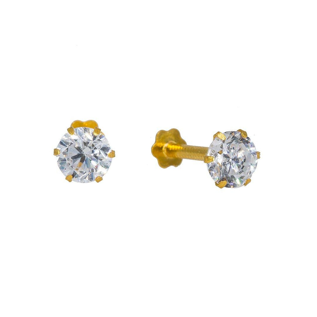 22K Yellow Gold Nose Pin W/ Prong Set Cubic Zirconia | Add a hint of radiance to your finished look with this set of 22K yellow gold nose pin from Viran...