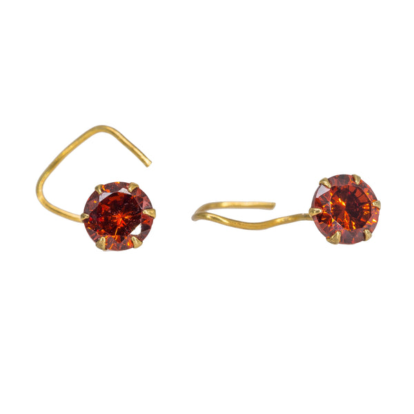 22K Yellow Gold Nose Pin W/ Prong Set Precious Ruby & Wire Hook Insert - Virani Jewelers | Your special attire deserves a brilliant touch with this 22K yellow gold nose pin with a precious...