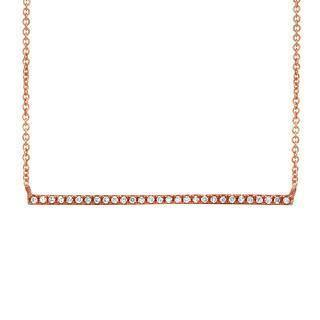 0.08ct 14k Rose Gold Diamond Bar Necklace | 0.08ct 14k Rose Gold Diamond Bar Necklace. 0.05