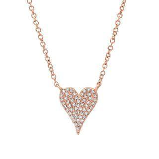 0.11ct 14k Rose Gold Diamond Pave Heart Necklace | 0.11ct 14k Rose Gold Diamond Pave Heart Necklace. 0.45