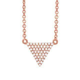 0.13ct 14k Rose Gold Diamond Pave Triangle Necklace | 0.13ct 14k Rose Gold Diamond Pave Triangle Necklace. 0.30