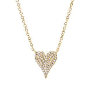 0.11ct 14k Yellow Gold Diamond Pave Heart Necklace | 0.11ct 14k Yellow Gold Diamond Pave Heart Necklace. 0.45