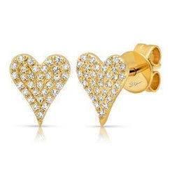 14K Yellow Gold Diamond Heart Stud Earrings W/ 0.14ct Pave Diamonds