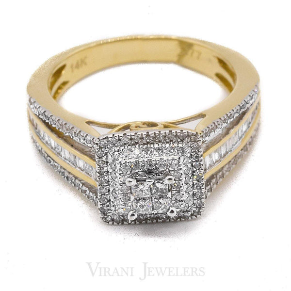 0.77CT Diamond Cluster Double Square Ring Set W/ Side Baguettes In Yellow Gold | 0.77CT Diamond Cluster Double Square Ring Set W/ Side Baguettes In Yellow Gold for women. Stunnin...