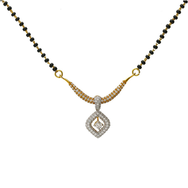 18K Multi-Tone Gold & Diamond Pendant Mangalsutra Necklace |  The 18K Multi-Tone Gold & Diamond Pendant Mangalsutra Necklace is one that any new bride wou...