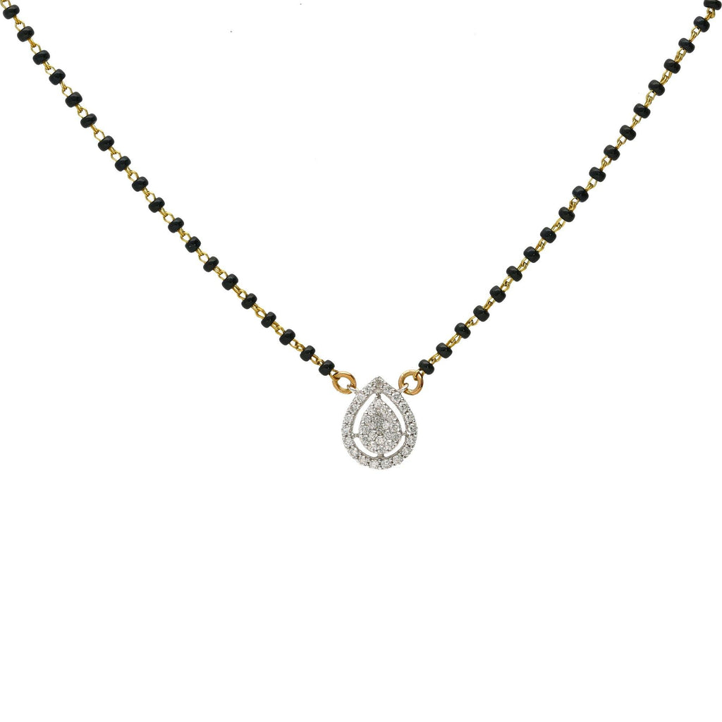 18K Multi-Tone Gold Mangalsutra Necklace w/ Teardrop Diamond Pendant |  This elegant and classy mangalsutra necklace has a simple design that is perfect for everyday we...