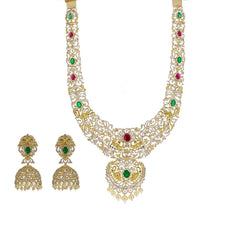 18K Yellow Gold Diamond Necklace & Earrings Set W/ 24.19ct VVS Diamonds, Rubies, Emeralds & Pearls