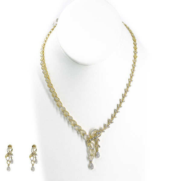 18K Multi Tone Gold Diamond Earrings & Necklace Set W/ VVS Diamond on Lariat Chain |  18K Multi Tone Gold Diamond Earrings & Necklace Set W/ VVS Diamond on Lariat Chain for women...