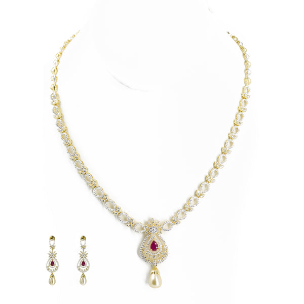 18K Multi Tone Gold Diamond Earring & Necklace Set W/ VVS Diamonds and Rubies on Flower Accents |  18K Multi Tone Gold Diamond Earring & Necklace Set W/ VVS Diamonds & Rubies on Flower Ac...