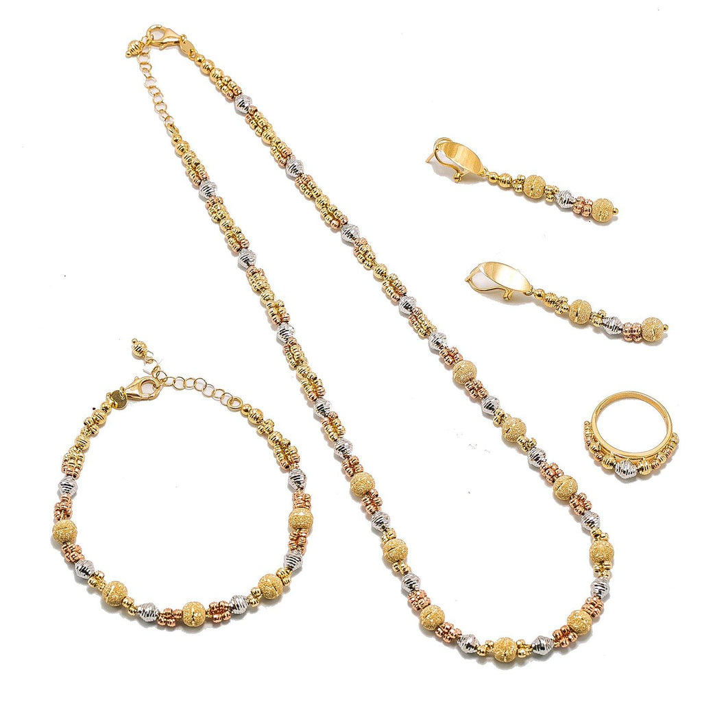 18K Multi Tone Gold Jewelry Set W/ Clustered, Glass Blast & Diamond Shaped Bead Ball Accents |  18K Multi Tone Gold Jewelry Set W/ Clustered, Glass Blast & Spindle Bead Ball Accents for wo...