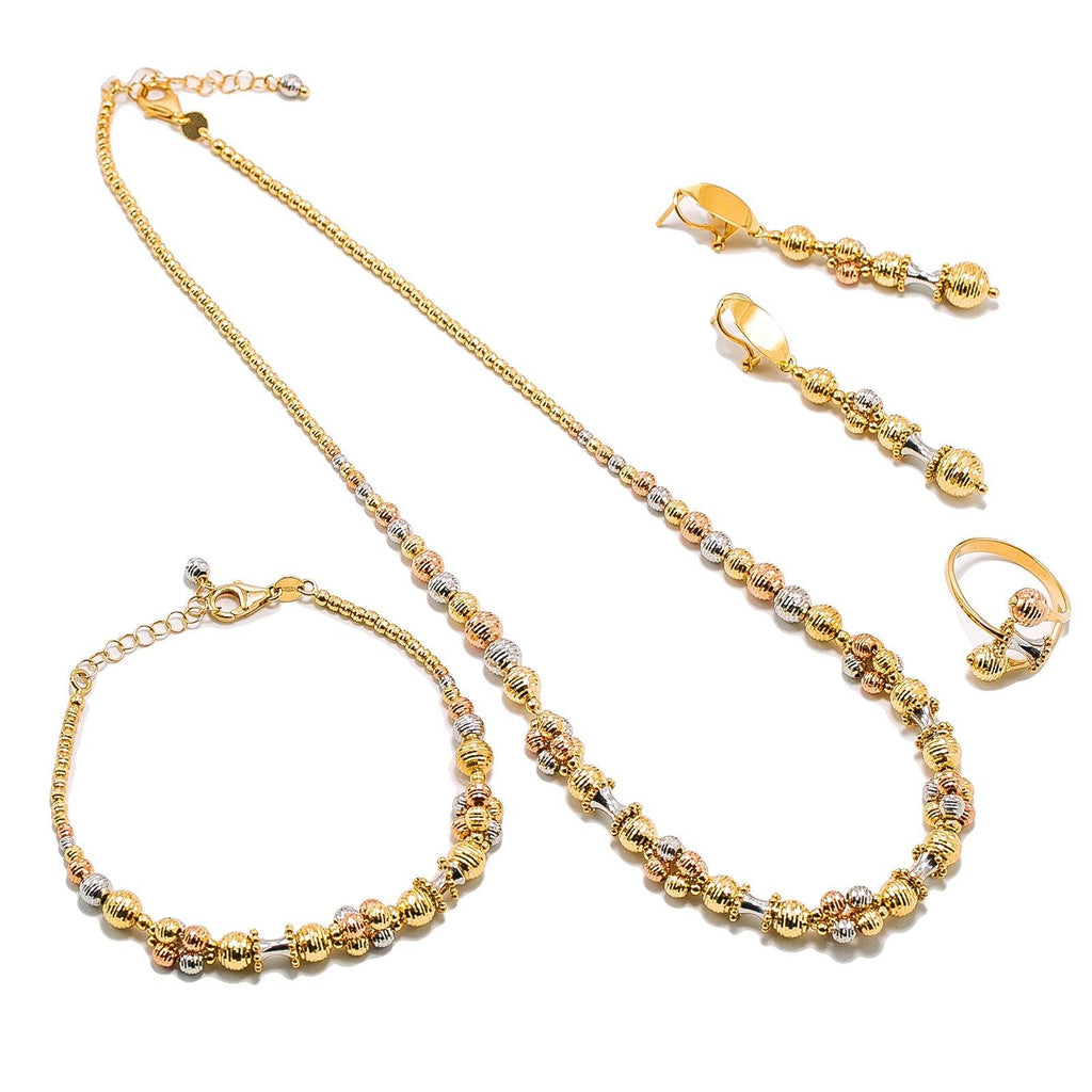 18K Multi Tone Gold Jewelry Set W/ Textured Bead Balls & Hour Glass Accents |  18K Multi Tone Gold Jewelry Set W/ Textured Bead Balls & Hour Glass Accents for women. This ...